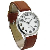 Ravel Mens Super-Clear Easy Read Quartz Watch Brown Strap White Face R0105.32.1A